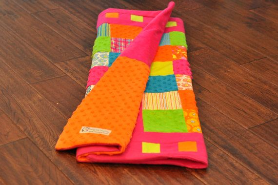 bright pink and neon baby quilt. modern baby quilt. vibrant and so cool!