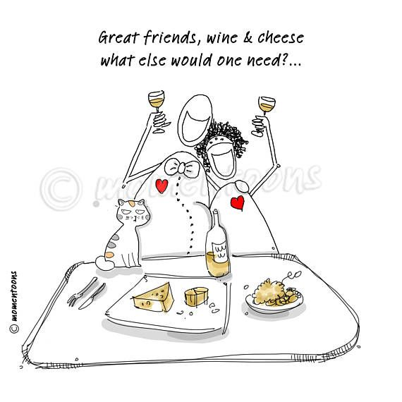 Great Friends Print Art, Wine and Cheese Digital Art, Friends Illustration, Caricature, Funny Cartoon, Hand Drawn, Funny Quote, Poster Humor