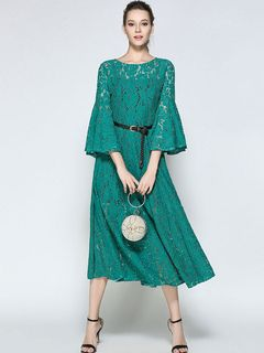 Green Lace Dress Round Neck 3/4 Length Sleeve Pleated Skater Dress For Women