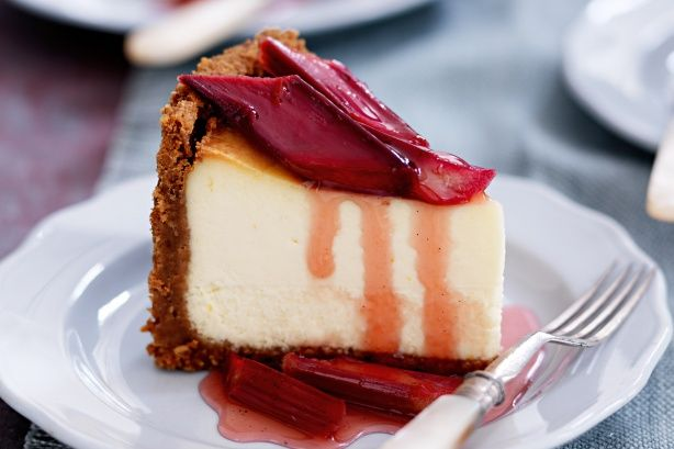 Indulge this winter with a stunning baked cheesecake with roasted rhubarb.