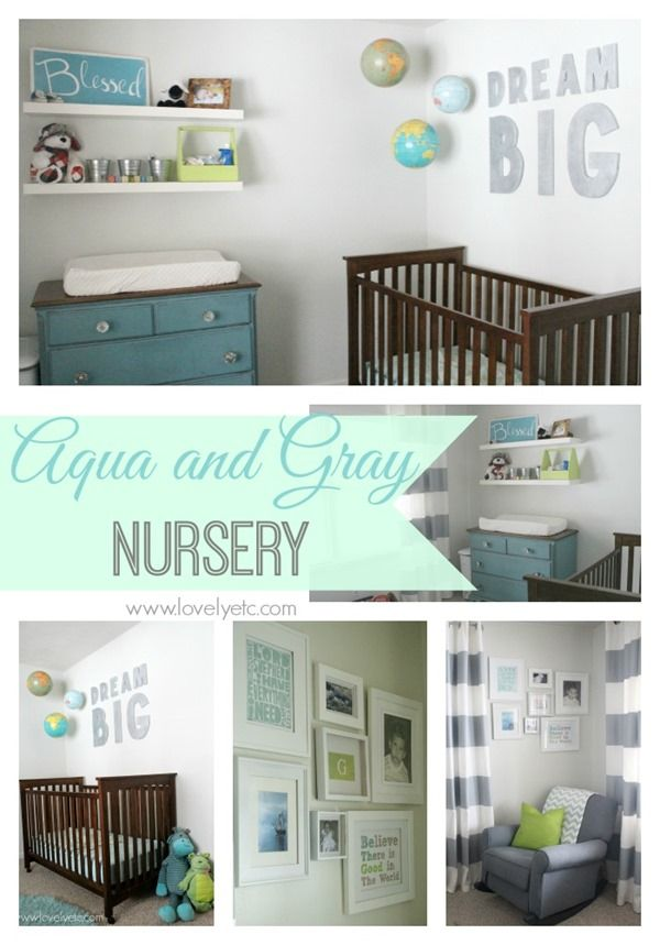 Aqua and gray nursery full of simple DIY projects and thrifty ideas.  This entire room including furniture cost less than $400!