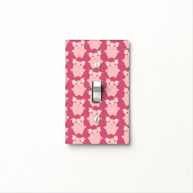 Cute Inquisitive Cartoon Pigs Light Switch Cover Cute inquisitive little piglets repeat pattern :) by Cheerful Madness!! Fully customi...read more
