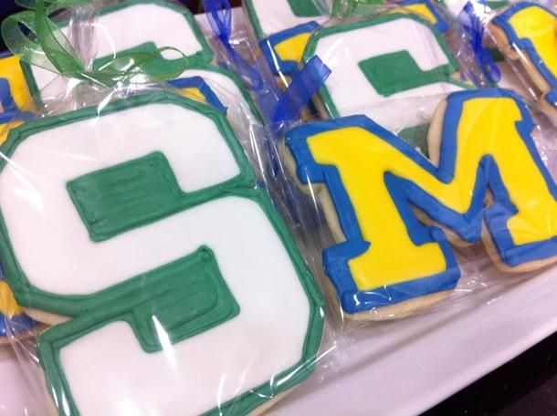 The Great Divide!  Michigan Cookie and Michigan State Cookie.  The Sweetest Thing, LLC - Custom Invites / Favors - Waterford - Wedding.com