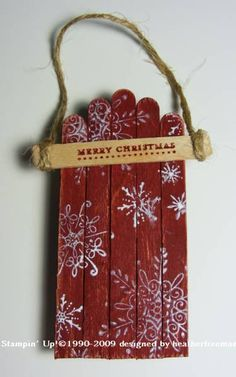 Popsicle Stick Sled by heather freeman - Cards and Paper Crafts at Splitcoaststampers. Great idea for children to make and personalize.