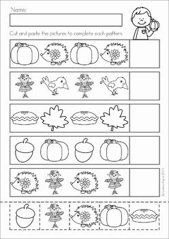 Autumn / Fall Math No Prep Worksheets & Activities. Patterns cut and paste.