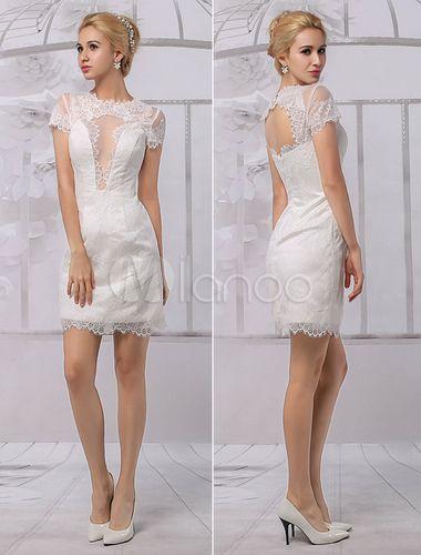 Short Lace Illusion Neckline  Back Keyhole Wedding Dress With Short Sleeves Milanoo-No.1