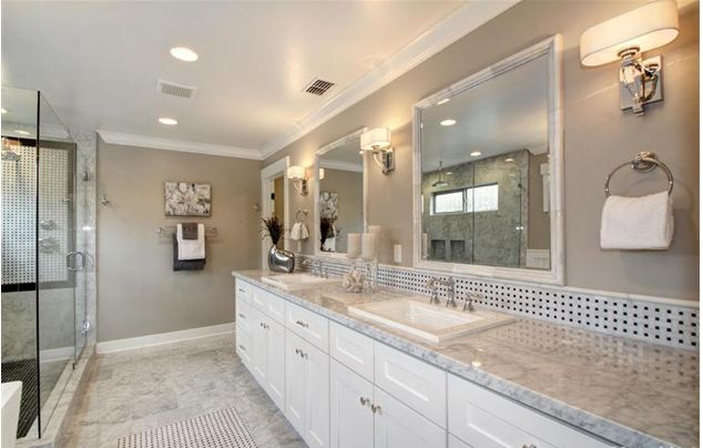 White Vanity Carrara Marble Tops And Marble Framed Mirrors I Street East Sacramento