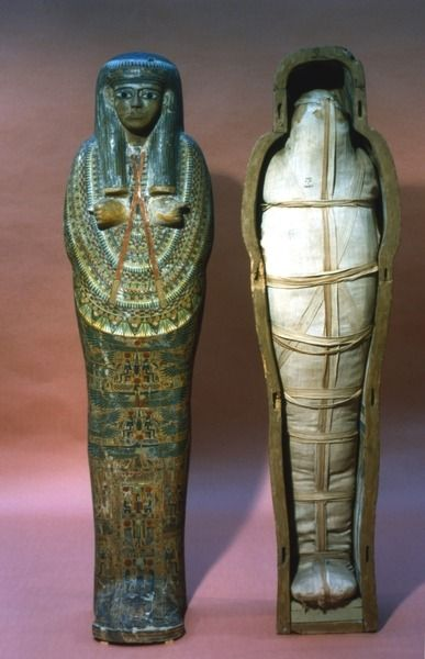 Mummy and mummy case of an Egyptian princess, Thebes. Third Intermediate Period, 21st Dynasty, ca. 1069-945 BC.