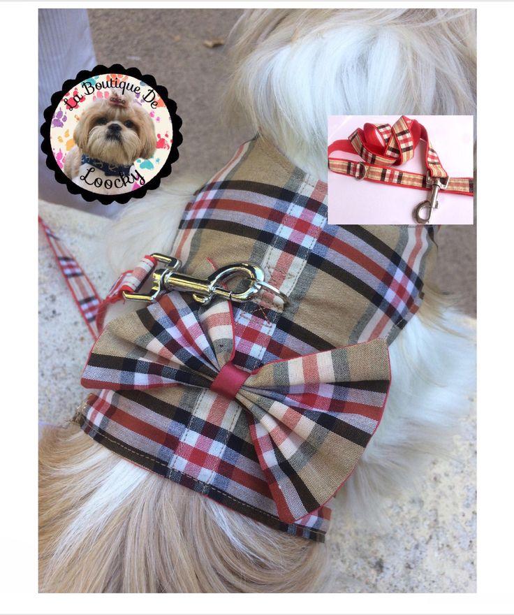 ENSEMBLE HARNAIS + LAISSE pour chien (shih tzu, grand york,caniche, bichon ...)tissu beige a carreaux rouge et noir 100 % coton/cadeau chien de la boutique laboutiquedeloocky sur Etsy
