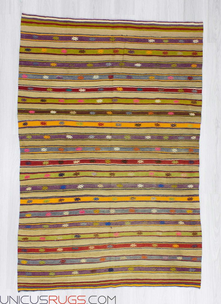 """Handwoven vintage colourful striped kilim rug from Fethiye region of Turkey. In very good condition. Approximately 40-50 years old. Width: 4' 7"""" - Length: 6' 11"""" Striped Kilims"""