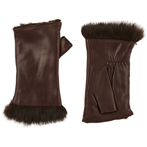 Barneys New York Women's Rabbit-Fur-Lined Leather Fingerless Gloves ($275) ❤ liked on Polyvore featuring accessories, gloves, brown, fingerless gloves, brown leather gloves, fingerless leather gloves, leather gloves and brown fingerless gloves