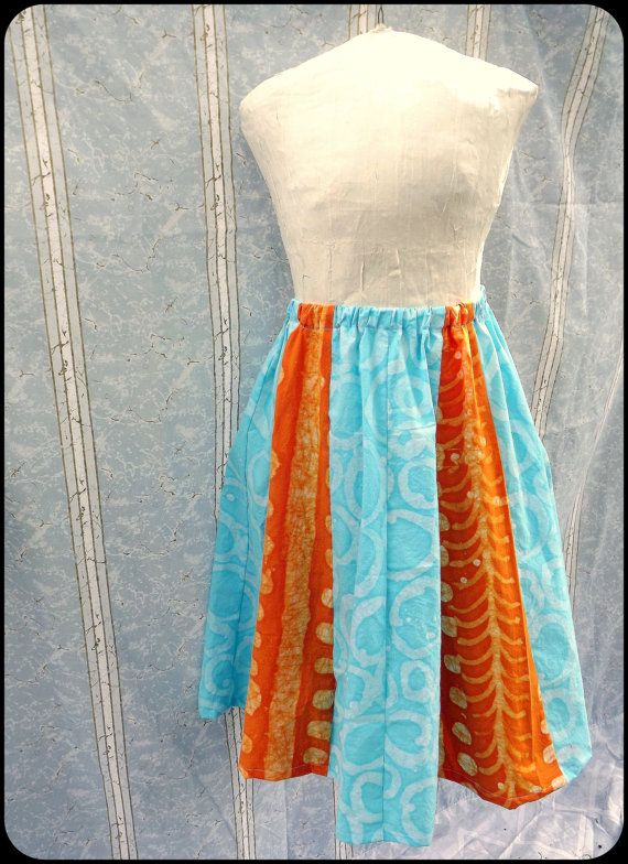 Batik Circle Skirt  Medium  Hand Dyed  Sky Blue and by GraceAtieno, $45.00