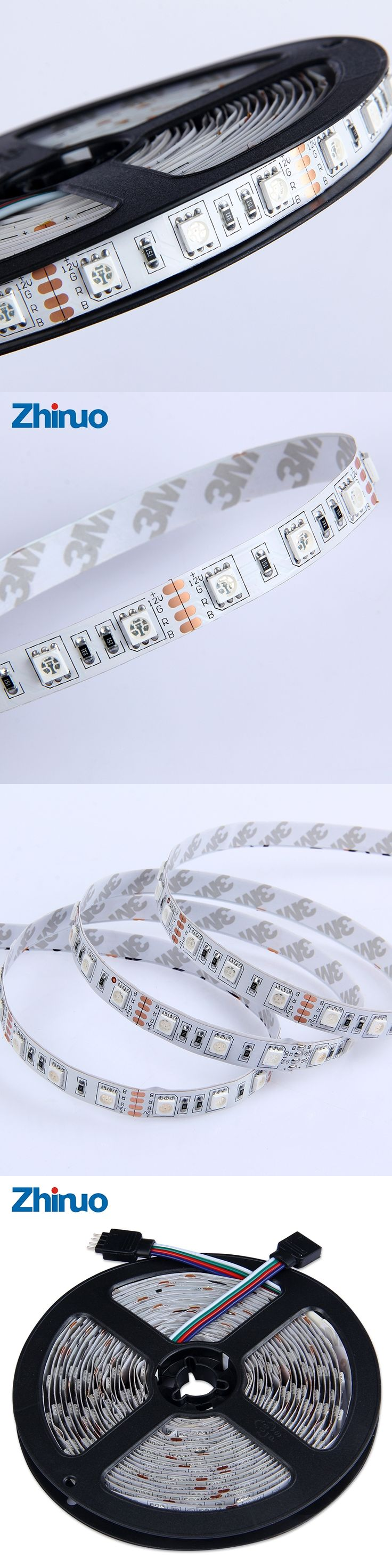 LED Strip DC 12V SMD5050 No-Waterproof  60leds/M Flexible LED Light Indoor 5M/roll Home Decoration Lamps White/Warm White/Blue