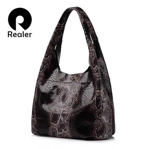 REALER brand genuine leather handbags women large tote bag classic serpentine prints leather shoulder bags ladies handbags