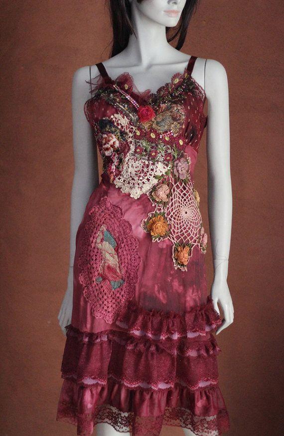 Red slip dress whimsy bohemian dress embroidered by FleursBoheme