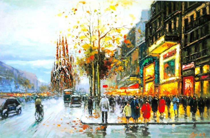 Barcelona aeYaeYGaudi cathedral views people trees city street rain autumn paint... | Abstract HD Wallpapers 7