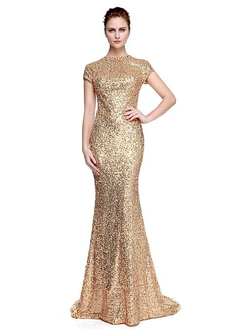 5152af1c0ca38 Sheath / Column Jewel Neck Sweep / Brush Train Sequined Sparkle & Shine /  Celebrity Style Formal Evening Dress with Sequin by TS Couture® 2019 - US  $103.99