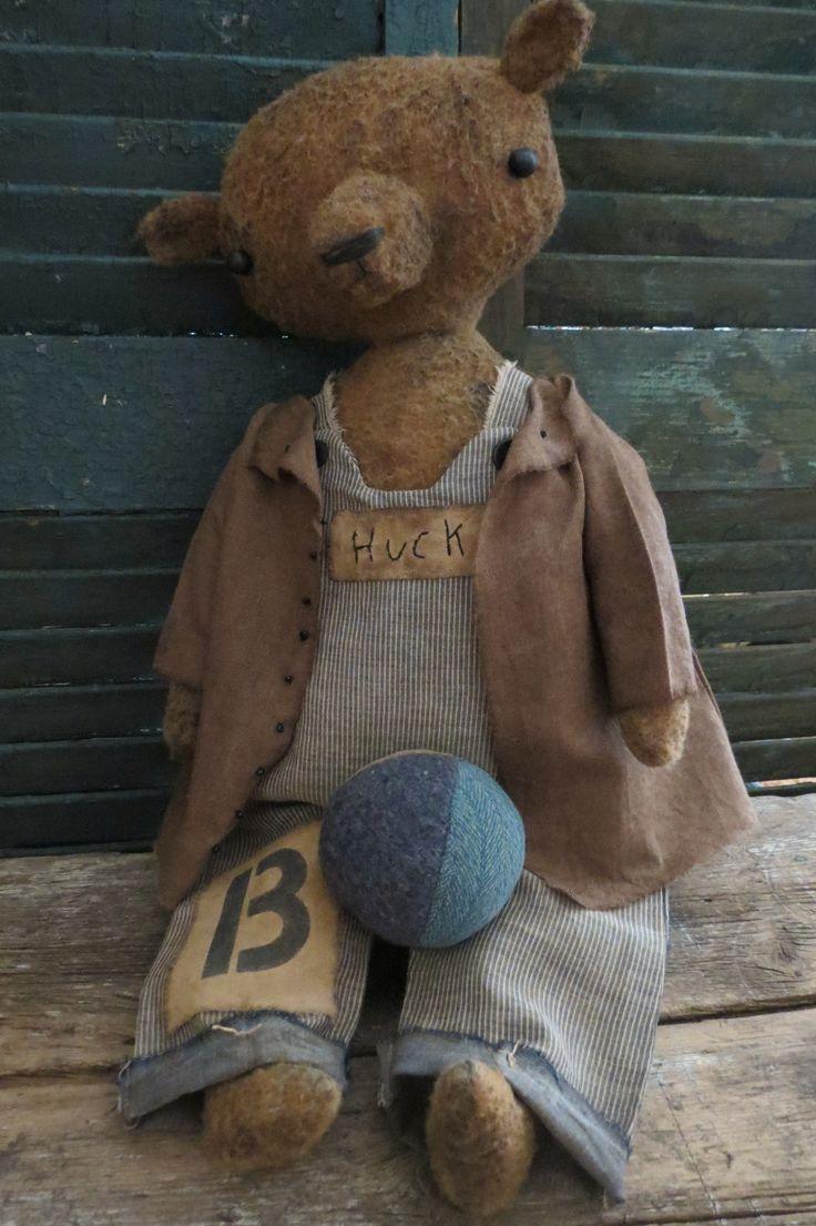 Huck- Handmade bear- a Button Box original by Lynn Stockhausen- buttonboxprimitives.blogspot.com
