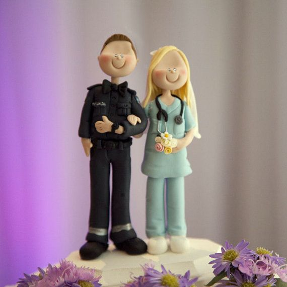 Wedding Cake Topper Custom Made Nurse And Paramedic By Maraluiza 12500