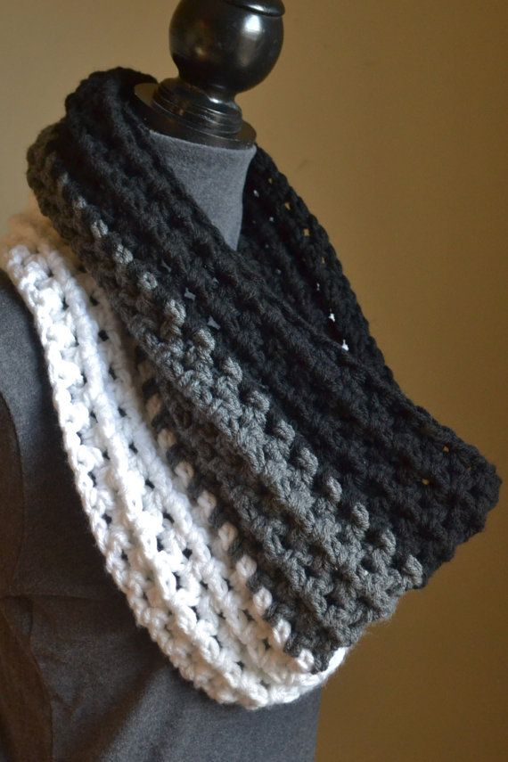 The Ombre Chunky Crochet Cowl by PureGraceThreads on Etsy.                             Inspiration.
