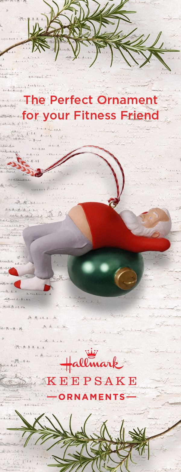Get everyone moving this holiday season with our Core Crunchin' Kringle Keepsake Ornament. See Santa's jolly belly peeking out from under his shirt as he gets in a few sit ups before Christmas Day. It's sure to be the perfect addition to anyone's tree and bring a smile to everyone's face. Available at Hallmark Gold Crown stores or online.