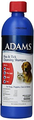 Adams Flea and Tick Cleansing Shampoo, 12-Ounce - This cleansing shampoo kills fleas, flea eggs, ticks* and lice. Very useful in cleansing and also deodorizes. Can be used for dogs, puppies, cats and kittens. *Brown Dog ticks & American Dog Ticks