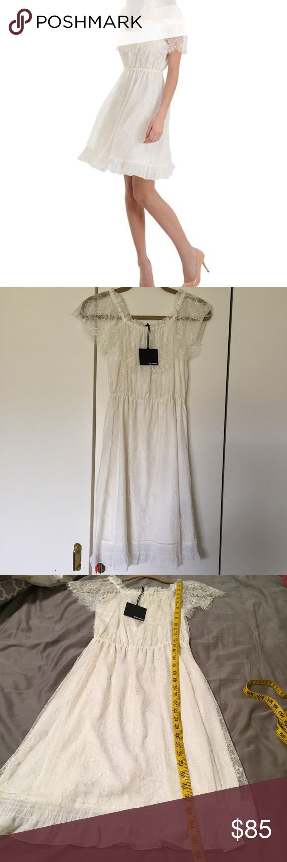 The Kooples bohemian lace dress size XXS Beautiful off-the-shoulder lace dress! New with tags - received as a gift but never wore. Store security tag is still on the dress, there will be a pinhole after it is removed. I have priced it to account for this. Keep this in mind. Measurements shown in photos. Please ask questions or request additional photos if you'd like, I want you to be happy with your purchase! ❌Model❌Trade❌✅Offers✅ The Kooples Dresses
