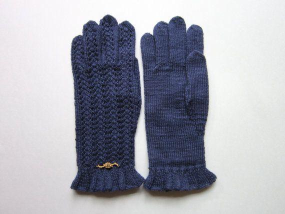 Guanti di lana blu guanti di pizzo blu per donne di AnitasHandmade