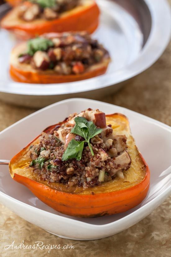 Roasted Acorn Squash with Cranberry, Apple, and Quinoa Stuffing, delicious vegetarian or vegan dish for Thanksgiving.