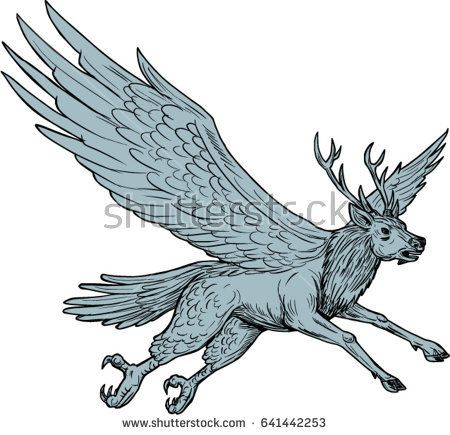 Drawing sketch style illustration of a Peryton, a Medieval European mythical creature with head, forelegs and antlers of a full-grown stag with the wings plumage and hindquarters of a bird flying.  #peryton #drawing #illustration