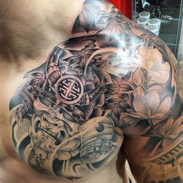 Japanese samurai chest plate tattoo. Black and Grey by Khang Vo of Anvil Tattoo Co. @proulxjustice