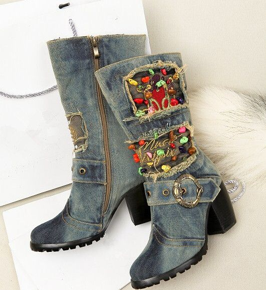 Cute Multi Bead Stud Denim Boots For Girls US $78.50 aliexpress.com