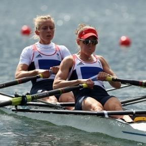 Sophie Hosking, right, and Katherine Copeland won lightweight double scull gold -day 8