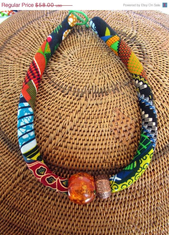SALE NOW Chunky necklace/ African bold jewelry/ fabric by nad205