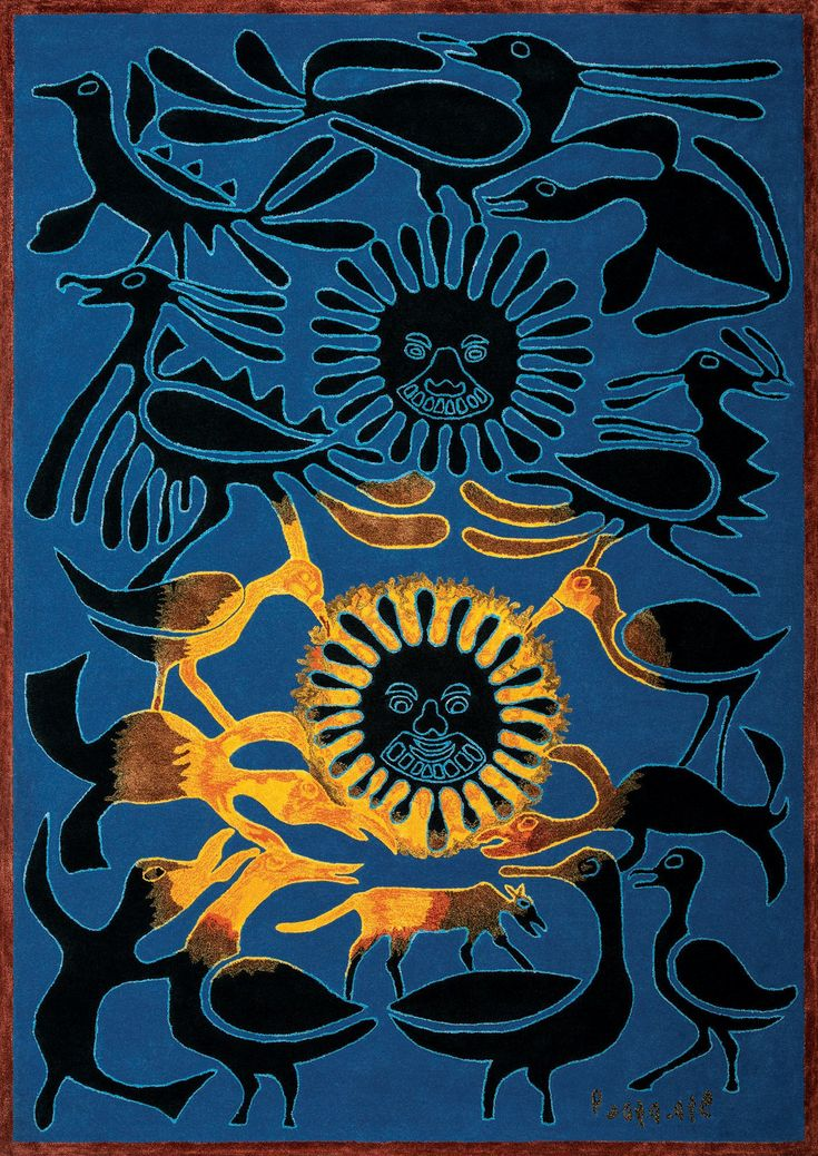 Inuit (Eskimo) Textile Art Inunoo Carpet/Tapestry - Revelation of the Sun 4/8 - HOT SUN - by Kenojuak Ashevak