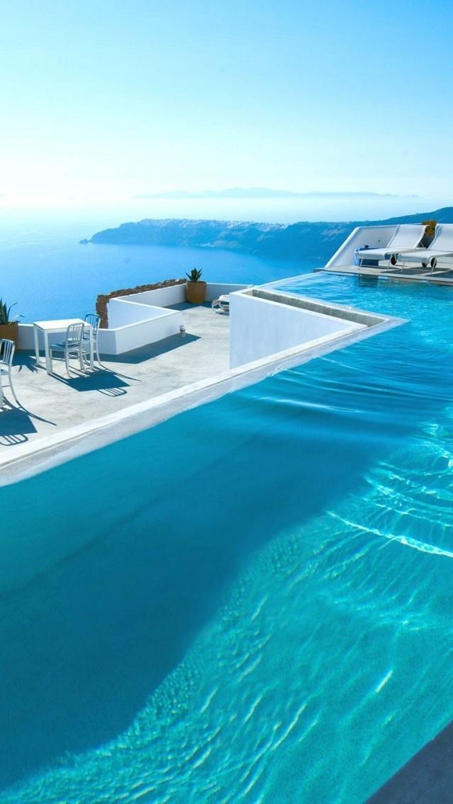Pool on the Caldera in Santorini