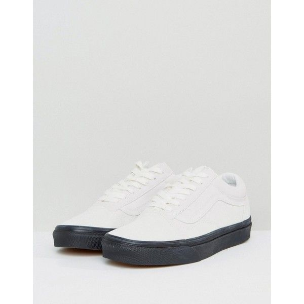 Vans Off White Suede Old Skool Trainers With Dark Gum Sole (1.319.560 IDR) ❤ liked on Polyvore featuring shoes, sneakers, sports trainer, suede sneakers, skate shoes high tops, vans shoes and high-top sneakers