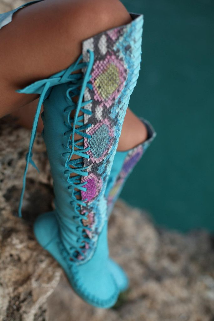 Turquoise Python Leather Knee High Boots, want.  Rather pricey, but they look like they're worth it.