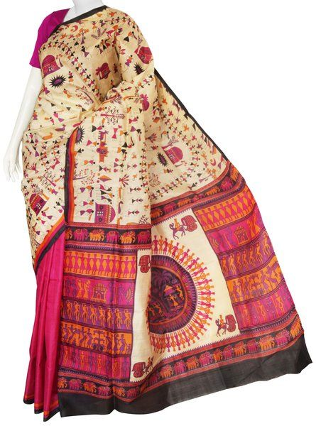 Cream & Magenta Bishnupuri Silk Saree with Blouse