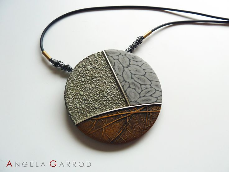 """ Autumn Currents "" Necklace Close Up........................Polymer Clay, Sterling Silver, Brass and patinated Steel."