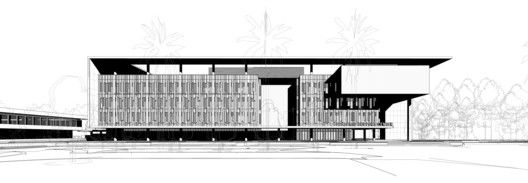 Miami Dade College Academic Support Center,South Elevation