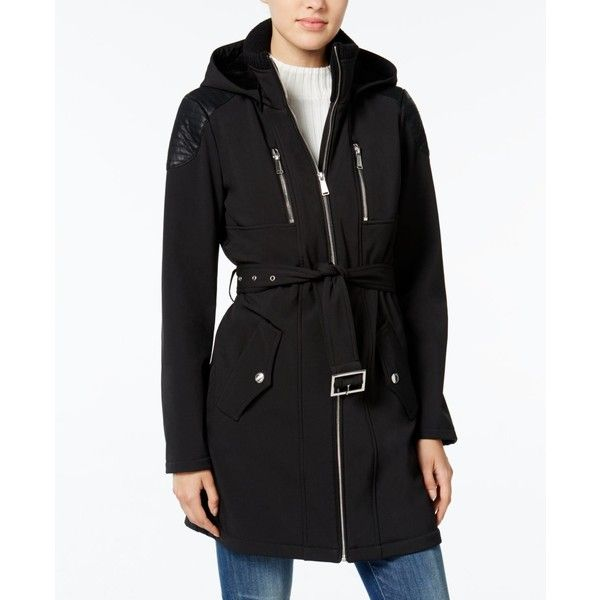 BCBGeneration Faux-Leather-Trim Belted Raincoat ($100) ❤ liked on Polyvore featuring outerwear, coats, black, rain coat, mac coat, bcbgeneration coats, belted coat and belted raincoat