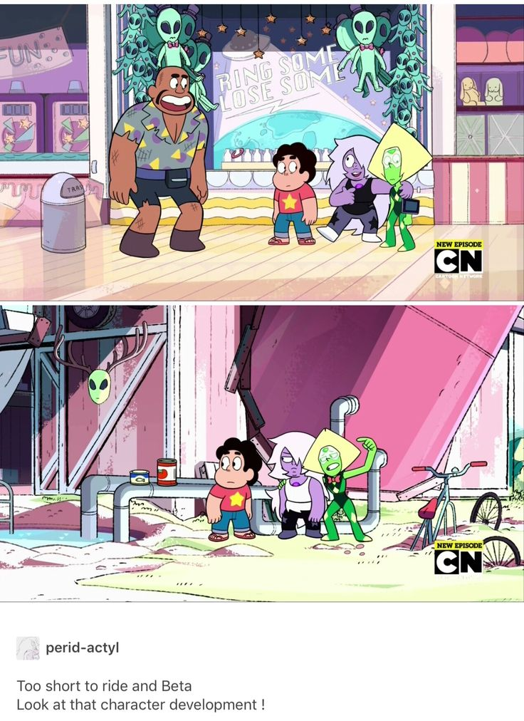 Can you spot the difference? Differences: 1. In the second frame Peridot has her hand on Amethyst, and not vice versa. 2. Steven is looking in the different direction. 3. No Mr.Smiley.