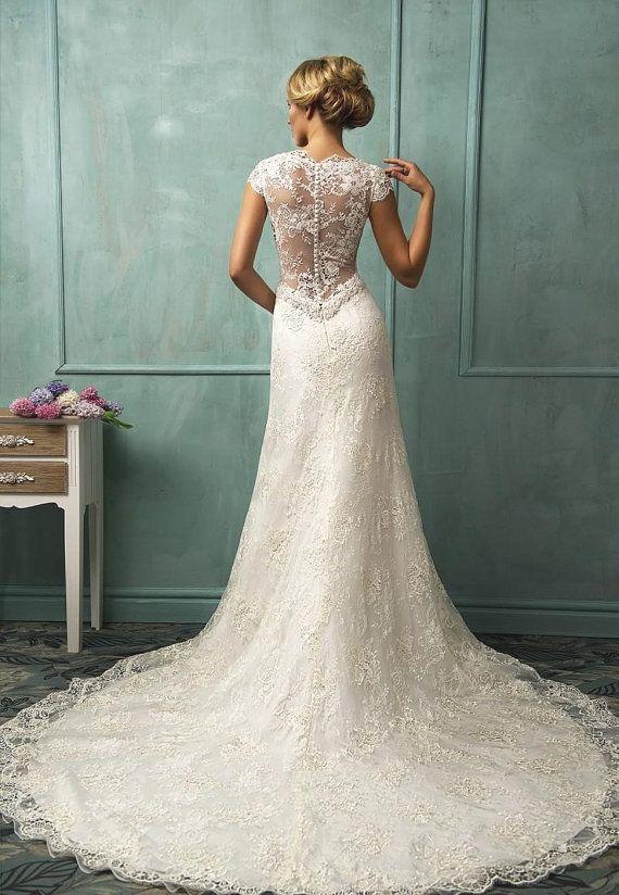 Antique Wedding Dress With V Neck Beads Cap by LoveBirdsBakery