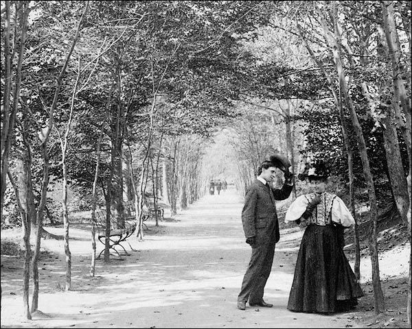 New York City Central Park photo of Lovers Lane in 1896.    PHOTOGRAPHER / CREDIT: unknown  DATE: November 23, 1896
