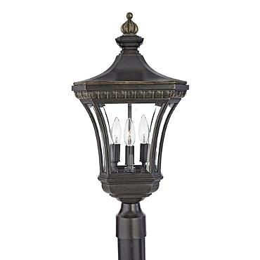 Quoizel devon 3 light tall post lantern with clear glass imperial bronze outdoor lighting post lights post lights