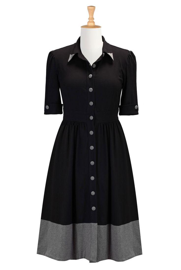 Black Cotton Knit Dresses, Retro Shirtdresses Shop womens short sleeve dresses - Dress Apparel - to suit any size and shape   eShakti.com