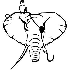 Elefanten als Pirat - Ein Elefantenkopf als Pirat mit typischen Piratenhaken, Augenklappe und Papagei auf der Schulter bzw. Ohr.