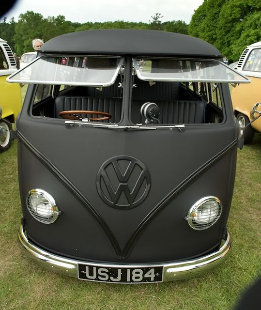 An unlikely combination - a VW Van and the word sexy! Matte Black Volkswagen T1
