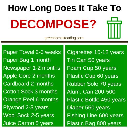 How Long Does It Take To Decompose Garbage Garden